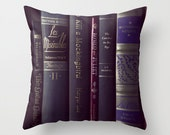 The Classics, Pillow Cover, Old Books, English, Literature, Les Miserables, Romeo and Juliet, To Kill a mockingbird, Catcher in the rye, art