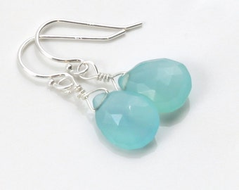 Aqua blue chalcedony earrings. Sterling silver jewelry. Wire wrapped. Seafoam blue. Light teal blue. Free shipping.