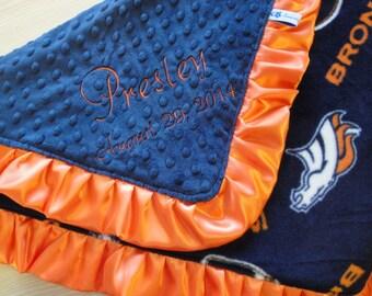 Personalized Denver Broncos Fleece and Minky Blanket Lovey Size 18 x 22