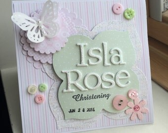 Christening card, Personalised Handmade Greeting Cards Christening, first communion card, adoption card, new baby card, luxury card