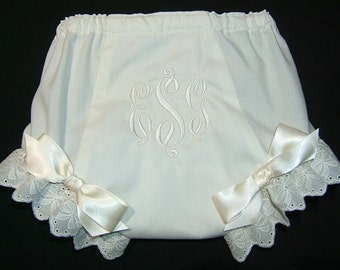 Personalized IVORY Diaper Cover Bloomer Fancy Panties Monogrammed Baptism Christening VCTR