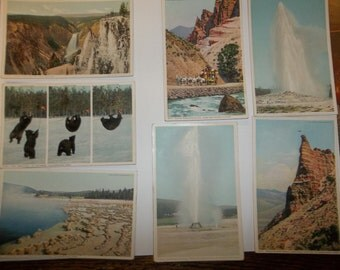 Yellowstone Park Vintage Postcard lot 1940.s Yellowstone postcard, Vintage postcard y102