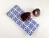 Destination Blue Lattice Metal Flex Frame Sunglasses or Glasses Case