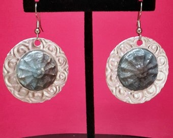 Embossed tin with clay earings