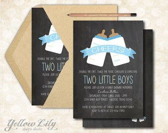 Twin Boys Baby Shower Invitation- Printable / DIY / Baby Shower / Baby Boy / Twins / Cheers