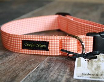 "Dog Collar ""The Gingham in Orange"""
