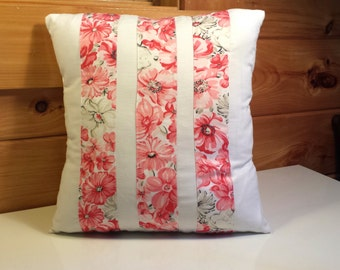 Pillow Cover Pink Flowers Stripes