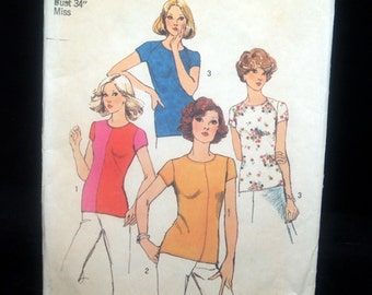 Simplicity 6289 Top Pullover For Stretch Knit Miss Size 12 Uncut Sewing Pattern