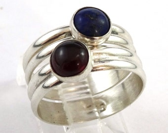 6mm Cabochon Sterling Silver Stacking Ring Set