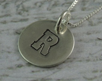 Custom Monogram Initial Varsity Font Sterling Silver Pendant on Chain