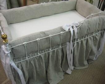 Washed Oatmeal Linen Farmhouse Crib Bedding---Bright White Sash Ties-Crib Bedding Basics-Gathered Crib Skirt-Washable Crib Bedding