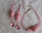 Pink Swarovski Crystal and Glass Bracelet/Anklet and Earrings Set