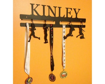 Medal Rack Customized with Name and Includes 4 Activity/Sports Charms