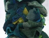 handmade felt scrap baggies, the cool BLUES AND GREENS color,  wool, alpaca, silk, llama, mohair