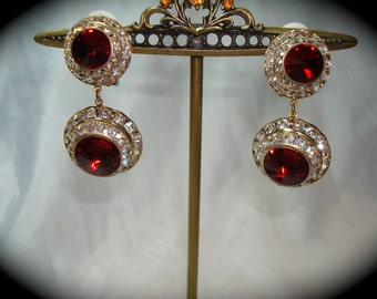 Vintage Large Ruby Red with Rhinestone Roundels Dangle Earrings.