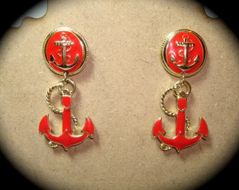 Vintage Red Nautical Anchor Earrings.