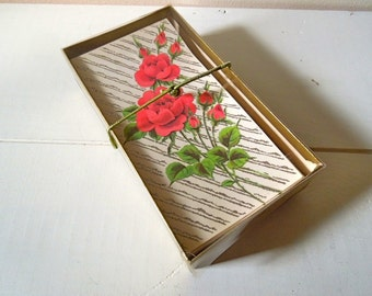 Set of Vintage Unused Note Cards & Envelopes, Blank Inside, Norcross Rose Enchantment