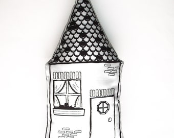 Black and White Plush Pillow of Cottage House – Fun for Nursery