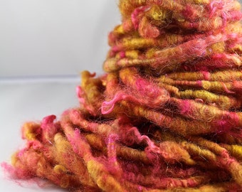 Handspun Art Yarn Corespun Fleecespun Uncarded Border Leicester ' Merriment'