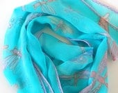 Dragonfly scarf , mint scarf , hand painted scarf