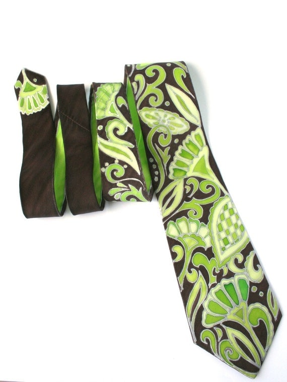 Brown green necktie for him her , paisley silk necktie hand painted on silk