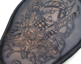 Hand Tooled Samurai Leather Motorcycle Seat