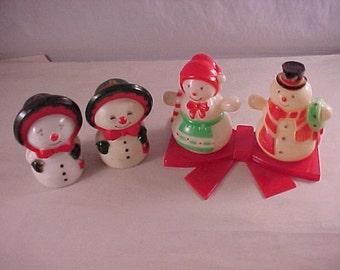 Plastic Snowmen Salt & Pepper 2 Sets