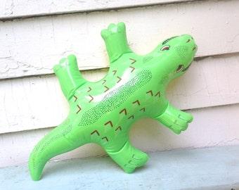 BACKYARD GATOR, vintage 1980s green + yellow blow up pool toy - inflatible POOL Party float, alligator, crocodile, large lizard - Summer Fun