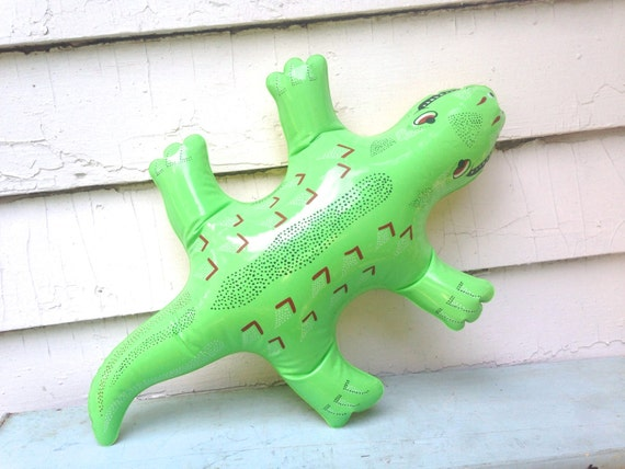 Backyard Gator Vintage 1980s Green Yellow Blow Up Pool Toy