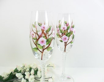 Champagne Glasses Hand Painted Apple Blossom Toasting Flutes Set of 2