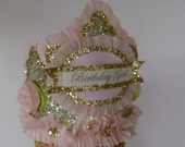 Birthday hat, Birthday Crown, BIRTHDAY GIRL, Customize, Gold and pink, adult, child