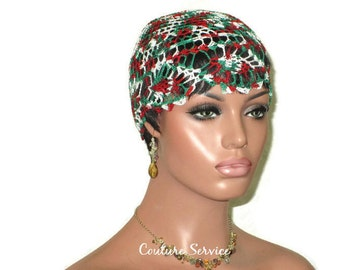 Green Pineapple Lace Cloche, Red, Multicolor, Variegated, Lace Beanie, Hand Crocheted, Lace Hat, Crocheted Lace, Pineapple Lace Cap