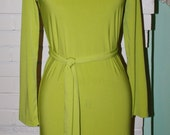 Marilyn's Mexico Wiggle Dress- Green Jersey Knit- Custom Made