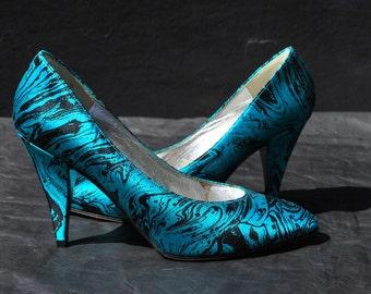 Vintage 80's CHARLES JOURDAN Paris marbleized shoes pumps size 8 B USA high heels by thekaliman