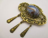 Brooch Vintage Blue Murano Glass Excellent Fine Openwork France Elegant (BB153)