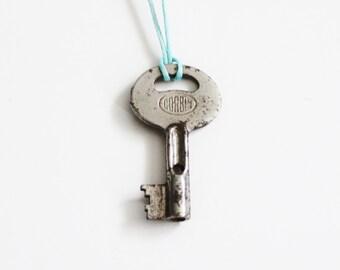 Vintage CORBIN GJ1 Mini Skeleton Key Upcycled Necklace on Waxed Aqua Blue Cord
