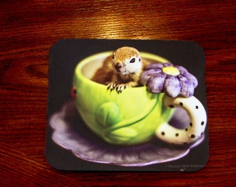 computer mouse pad, mouse pad,  large mouse pad, animal mouse pad, thick mouse pad, whimsical gift, kids mouse pad, tea cup mouse pad