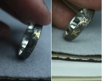 The WHATEVER ring with GOLD, 4mm x 1mm or 5mm x 1.25mm strip. Philosophy, history, art in unique distress design. Custom message optional.