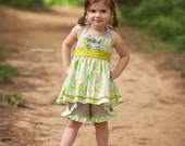 Girls Grey and Lime Floral Halter Top  Sizes 12MO-8