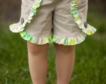 Girls Shorts, Girls Grey Ruffle Shorts, Girls Summer Shorts, Toddler Shorts, Girls Coachella Shorts, Girls Tulip Shorts, Girls Sizes 12MO-10