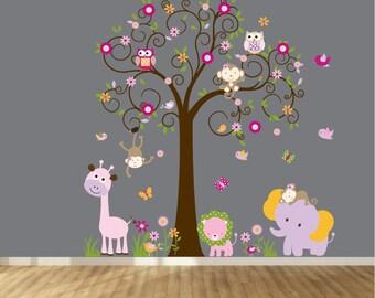 Children Wall decals, Nursery Wall Decals, Tree Wall  Decals, Girl Wall Decals, Vinyl Wall Decals