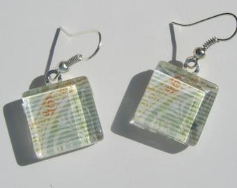 Fun Green Unique Print Earrings, Glass Dangle Earrings, Summer Earrings