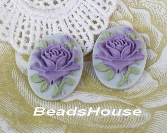 90-00-CA  4pcs (18 X 25mm) Pretty Oval Rose Cameo - Purple on Grey