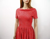 Vintage 1960s Red Sparkle Dress Needs Work Handmade Red Lurex Dress / Extra Extra Small