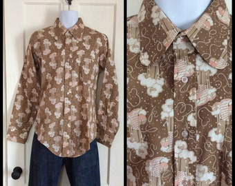 Vintage Deadstock 1970's Brown 20s Flapper Patterned Mens shirt size Large Novelty Print