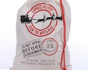 Personalized Monogram Vintage Santa Sack gift bag with reindeer