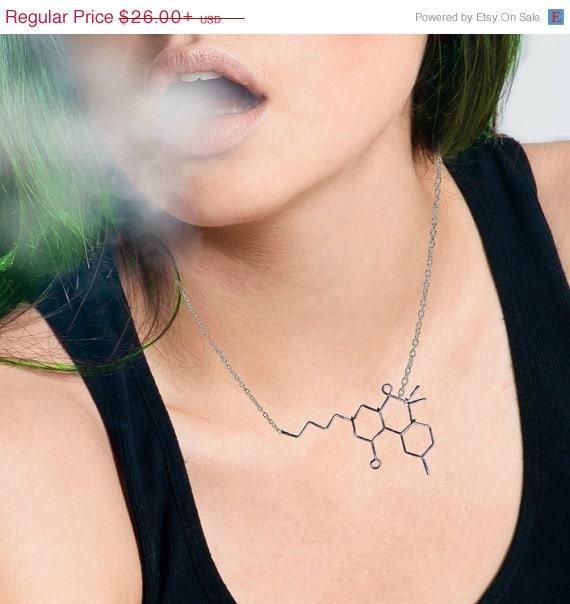 THC Molecule Necklace - Marijuana Weed Jewelry