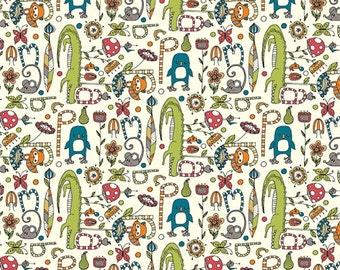 Organic Cotton KNIT Fabric - Birch Picnic Whimsy - Alphabet Soup