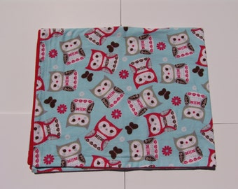 Lightweight flannel baby blanket - Owls