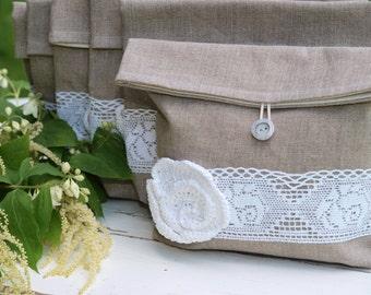 SUMMER SALE -  Set of 6 Natural Linen Pouches  Clutches for Bridesmaids Linen Pouches
